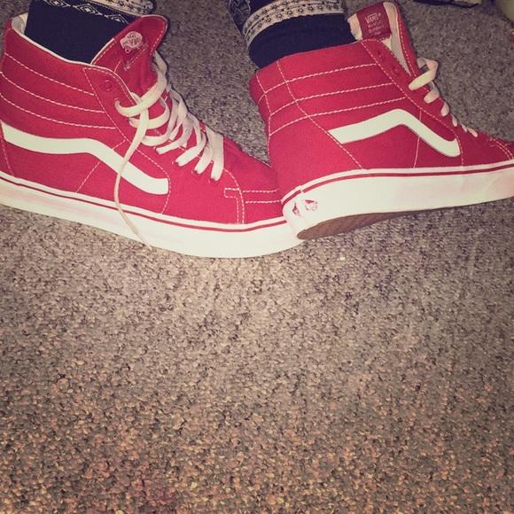 Vans Shoes | Red High Top Old School